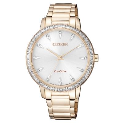 CITIZEN 星辰光動能閃耀晶鑽時尚手錶 FE7043-55A-玫瑰金/36mm