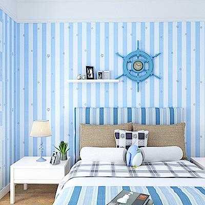 半島良品 防水PVC自黏裝飾牆紙45x200cm-藍條紋
