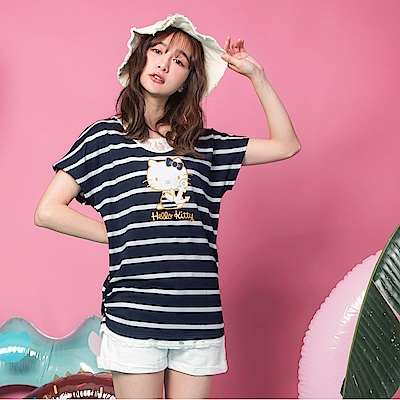 KITTY水手系列~印花條紋拼接蕾絲假兩件短袖上衣-OB大尺碼
