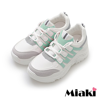 Miaki- 休閒鞋.粉系舒適加厚底小白鞋-綠