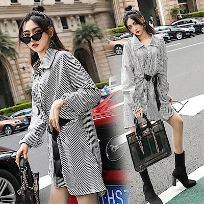 DABI 韓國風復古收腰襯衫配皮帶修身長袖洋裝