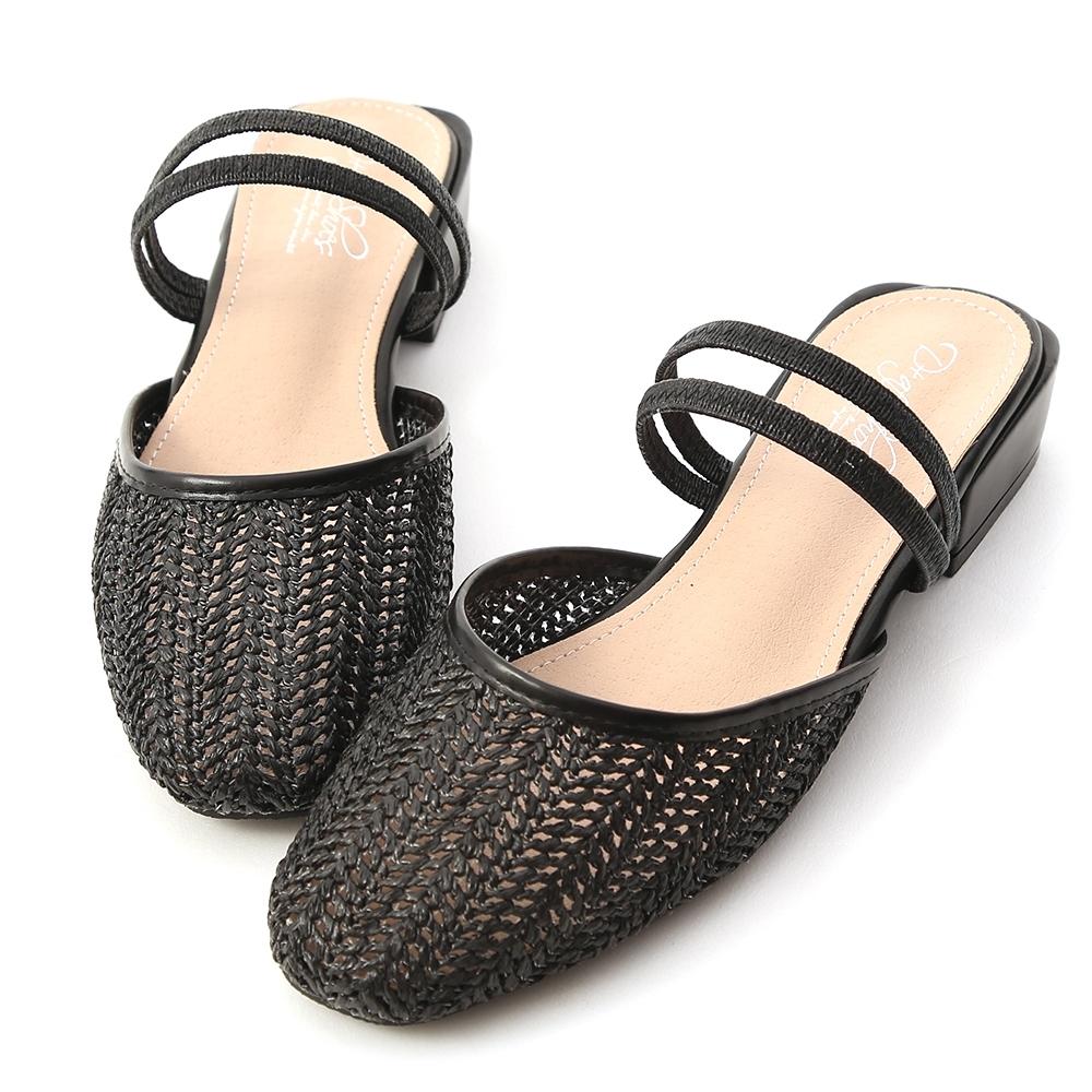 D+AF 微涼氣息.草編材質二穿式穆勒鞋*黑