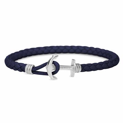 PAUL HEWITT 單繩銀釦深藍皮革手環