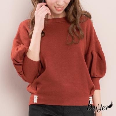 【白鵝buyer】韓版加厚款優雅泡泡袖珍珠下擺毛衣(酒紅咖)