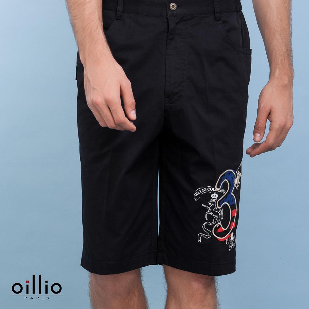 oillio歐洲貴族 休閒圖案印花短褲 100%純棉棉料休閒款 黑色