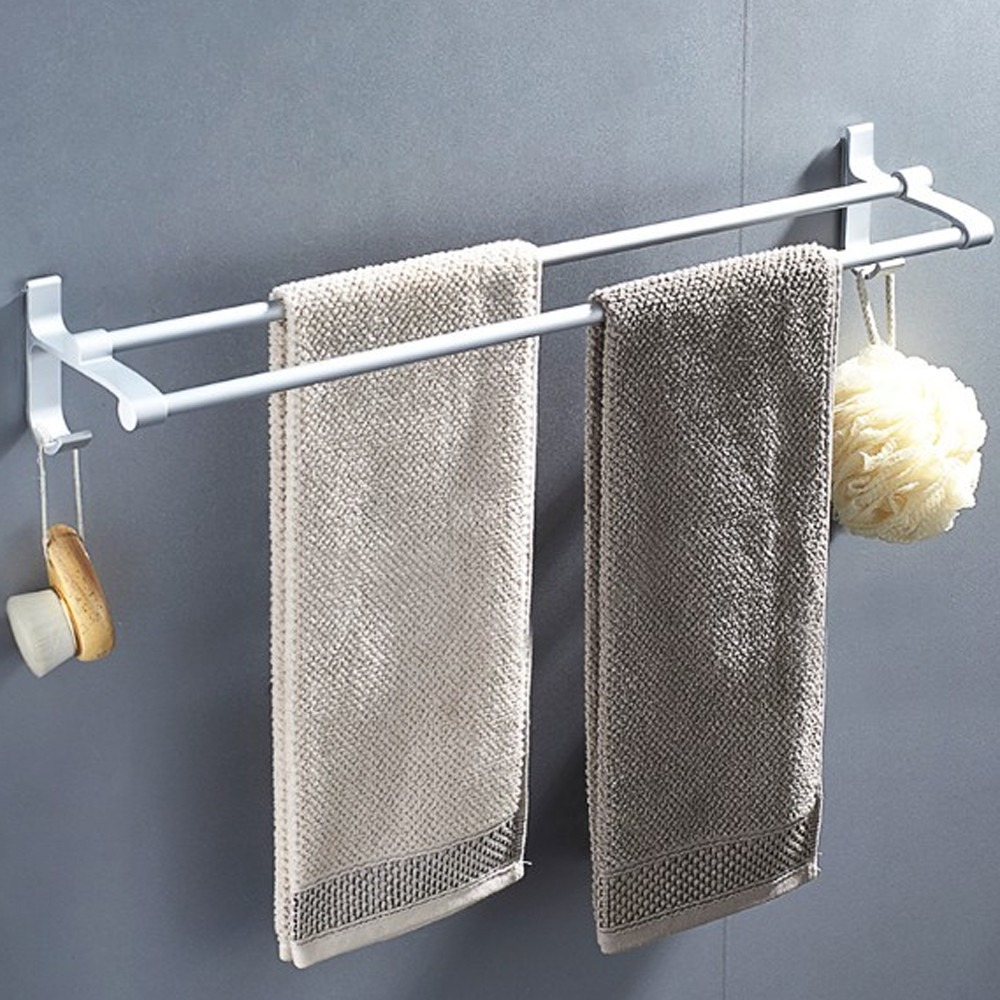AA085-50cm 加厚雙桿 免打孔無痕太空鋁毛巾架/毛巾桿