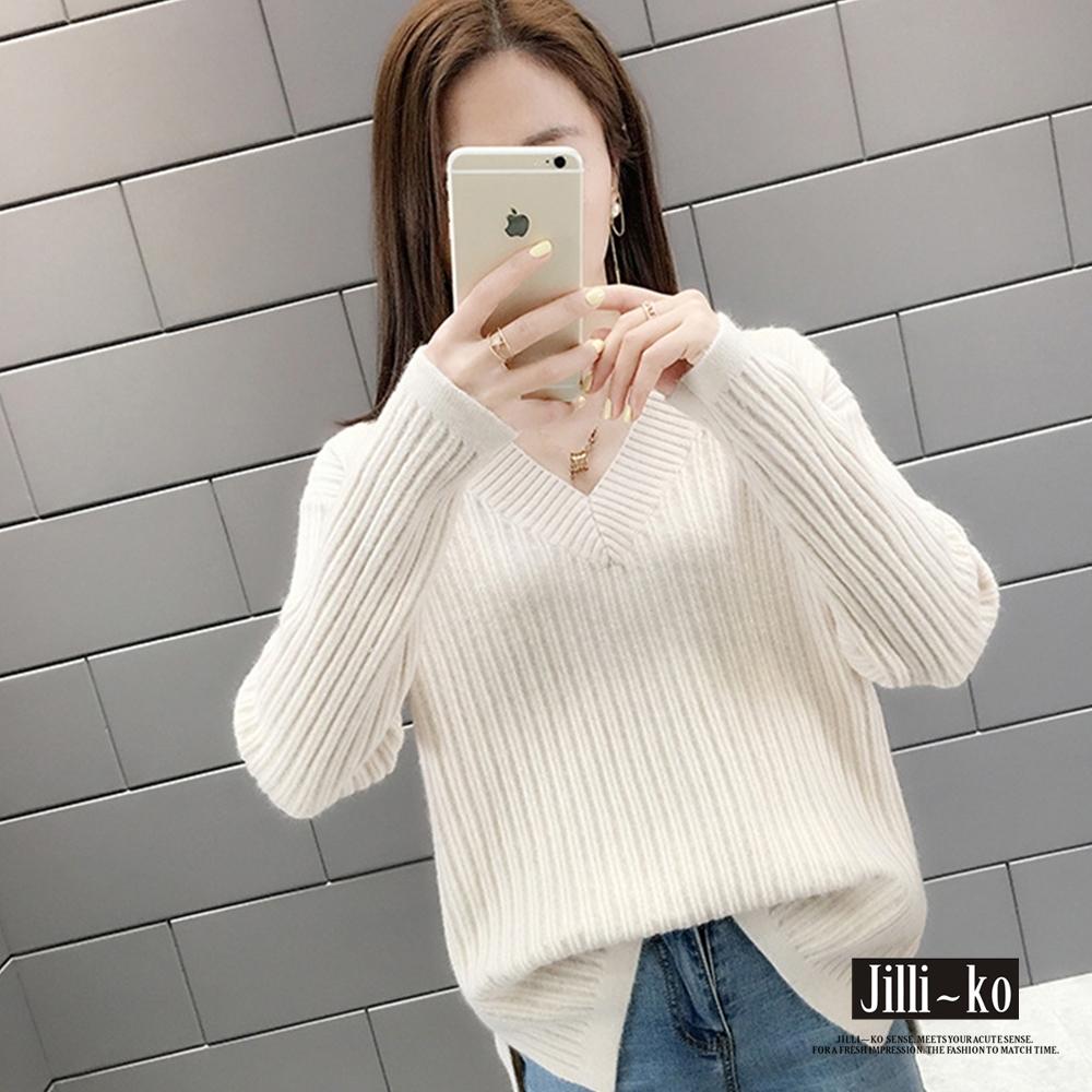 JILLI-KO 大V領坑條針織毛衣- 白/綠/卡