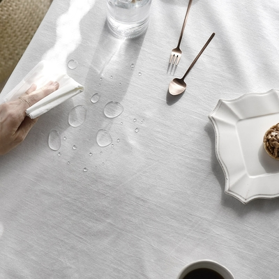 完美主義 水洗白防水桌巾-2入組/餐桌巾/餐桌墊/蓋布/桌布/韓國製-130x180cm4人桌