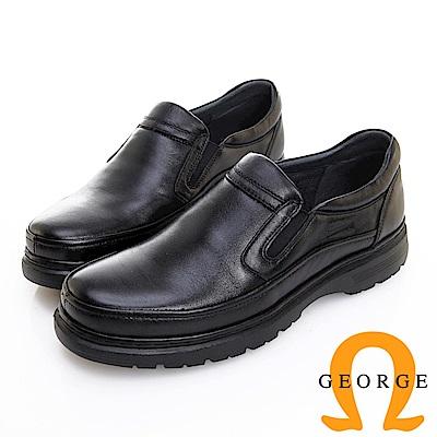 GEORGE 喬治皮鞋 輕量系列 圓頭素面鬆緊帶氣墊鞋 -黑