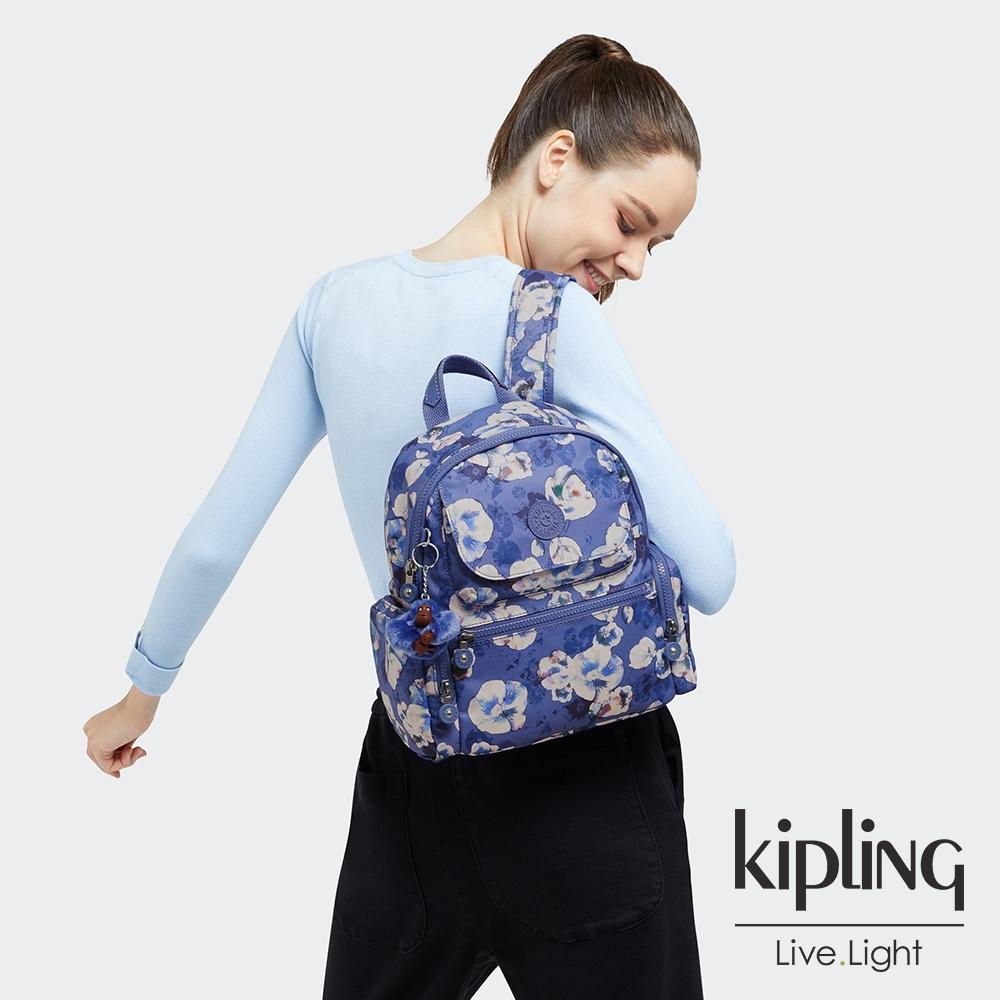 Kipling 氣質渲染印花多口袋拉鍊後背包-MATTA