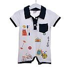 魔法Baby 口袋印花短袖連身衣 k50483