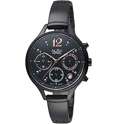ALBA雅柏俏皮時尚腕錶(AT3F19X1)-黑色