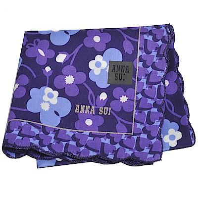 ANNA SUI 繽紛愛心荷葉滾邊小花字母LOGO帕領巾(紫/水藍色)