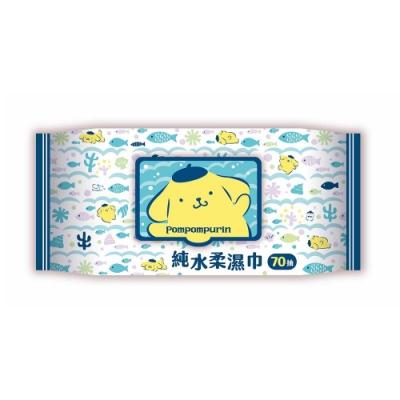Sanrio三麗鷗 布丁狗純水有蓋柔濕巾/濕紙巾(加蓋)70抽X36包(箱購) 特選水針布質地超柔軟