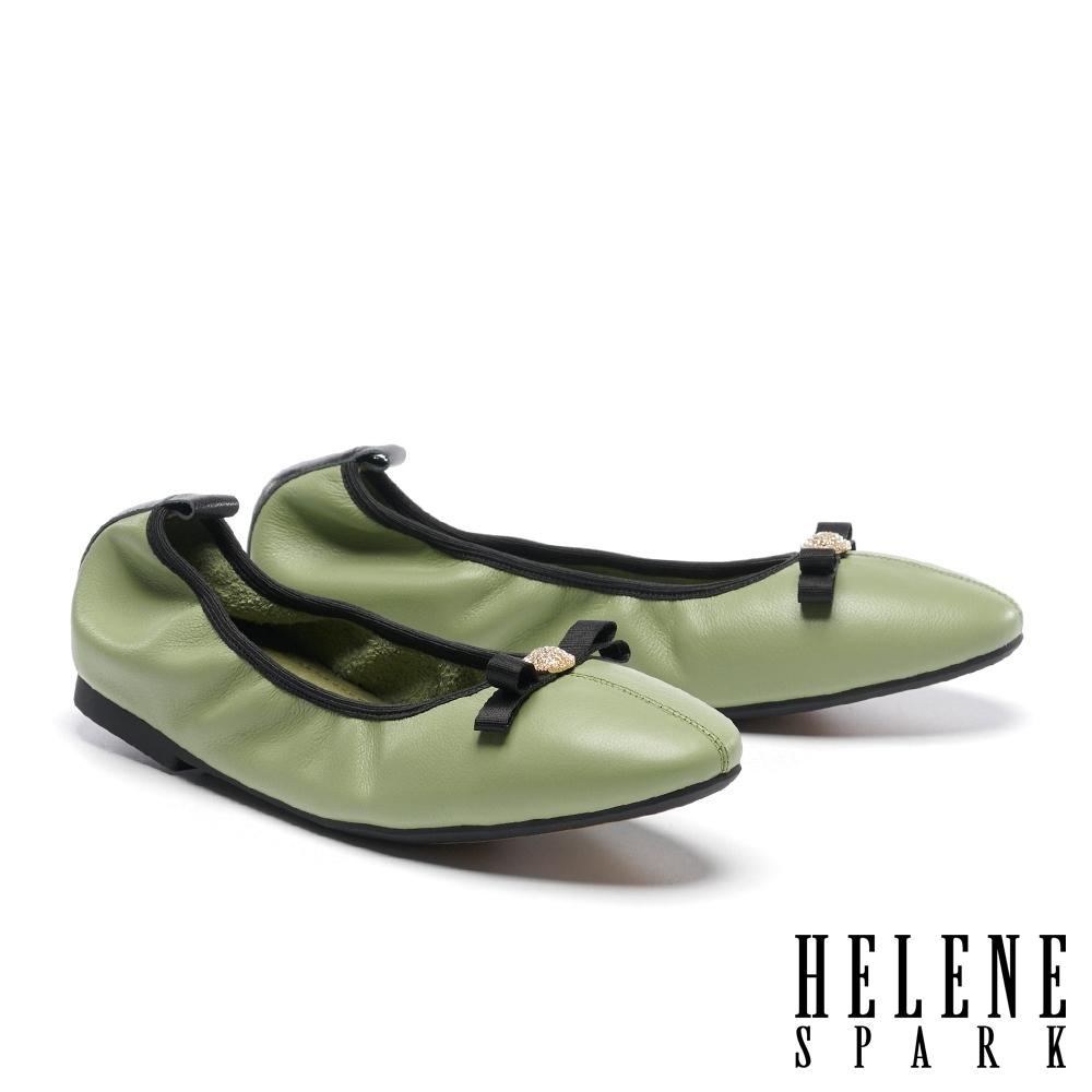 平底鞋 HELENE SPARK 素雅氣質蝴蝶結牛皮娃娃鞋平底-綠