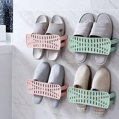 E-dot 無痕通風防臭壁掛可折疊收納鞋架(二色)