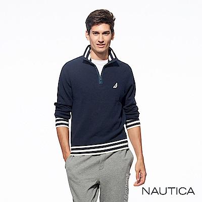 Nautica經典素色針織長袖毛衣-深藍