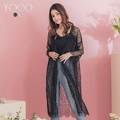 東京著衣-YOCO 法式透膚柔軟蕾絲長版開襟外罩(共兩色)