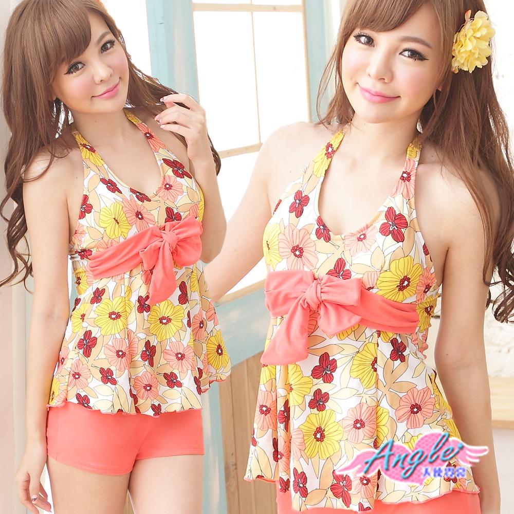 泳衣 俏麗甜心 二件式花朵印花泳裝(橘F)  AngelHoney天使霓裳