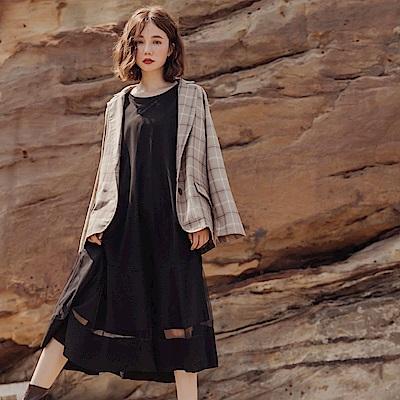 純色高含棉紗網拼接波浪傘襬喇叭五分袖長洋裝-OB大尺碼