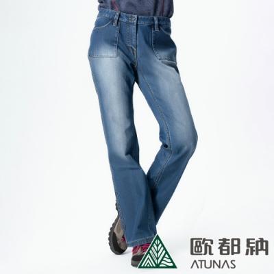 【ATUNAS歐都納】女款微刷毛保暖牛仔風格休閒長褲A-PA1327W藍/大尺碼