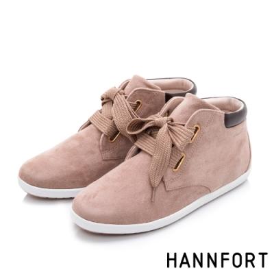 HANNFORT CALIFORNIA 麂皮寬版綁帶短靴-女-芋粉