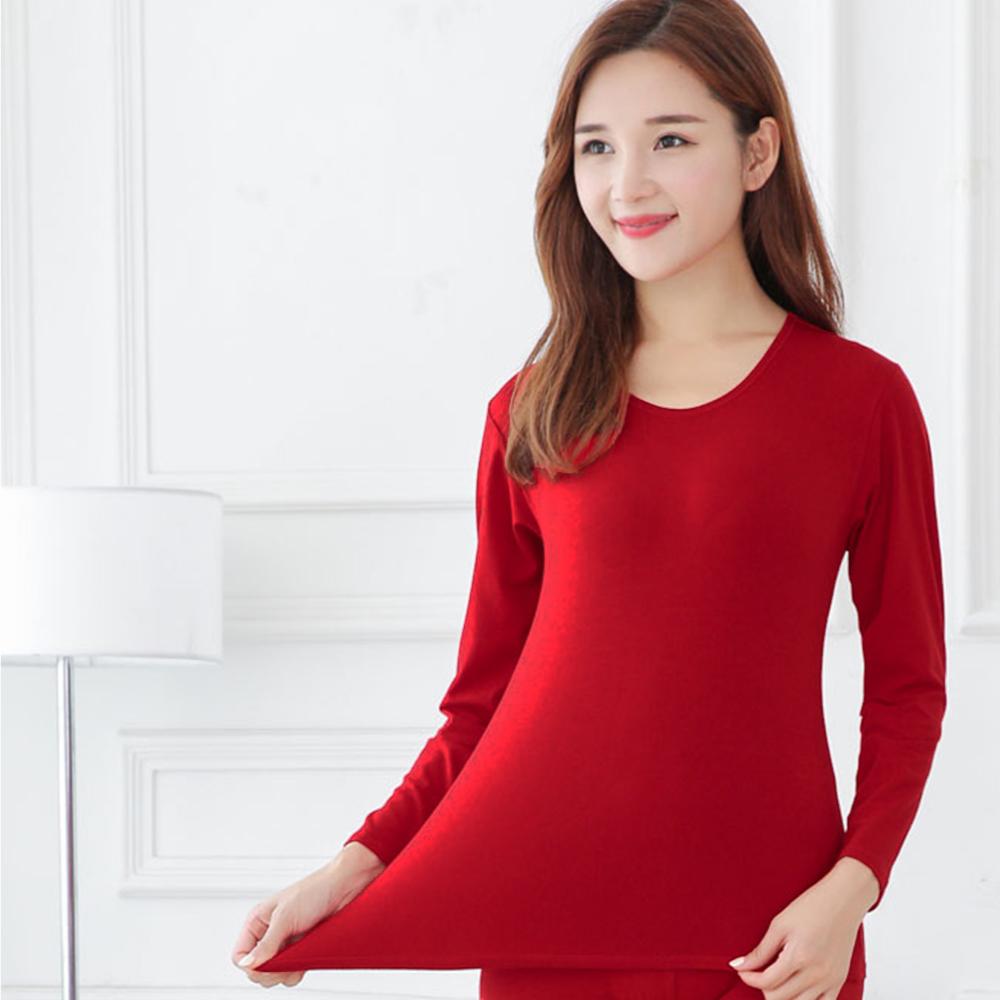 G+居家 女款輕磨毛暖暖發熱衣-圓領-亮紅