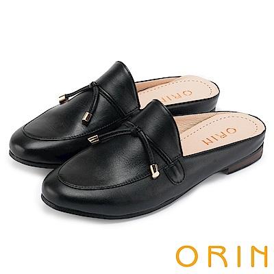ORIN 復古潮流 細帶綁結真皮平底穆勒鞋-黑色