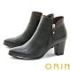 ORIN 時髦真皮拉鍊高跟 女 短靴 黑色 product thumbnail 1