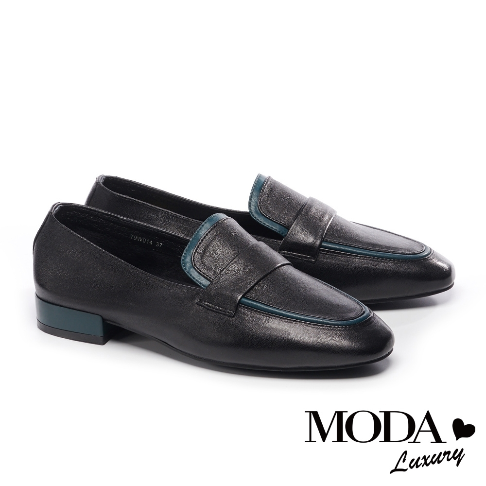 低跟鞋 MODA Luxury 經典復古文青撞色條帶樂福低跟鞋-黑