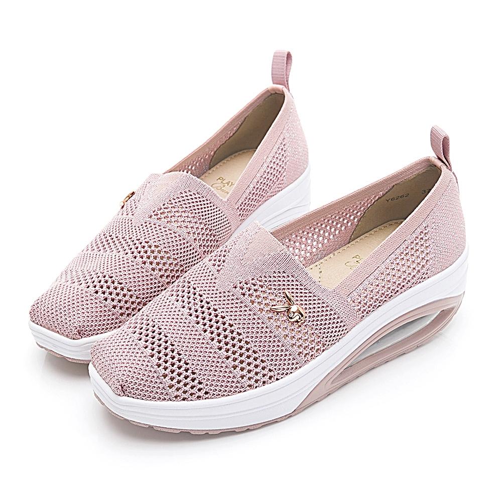 PLAYBOY活力核心 透氣網布鏤空休閒鞋-粉-Y626299