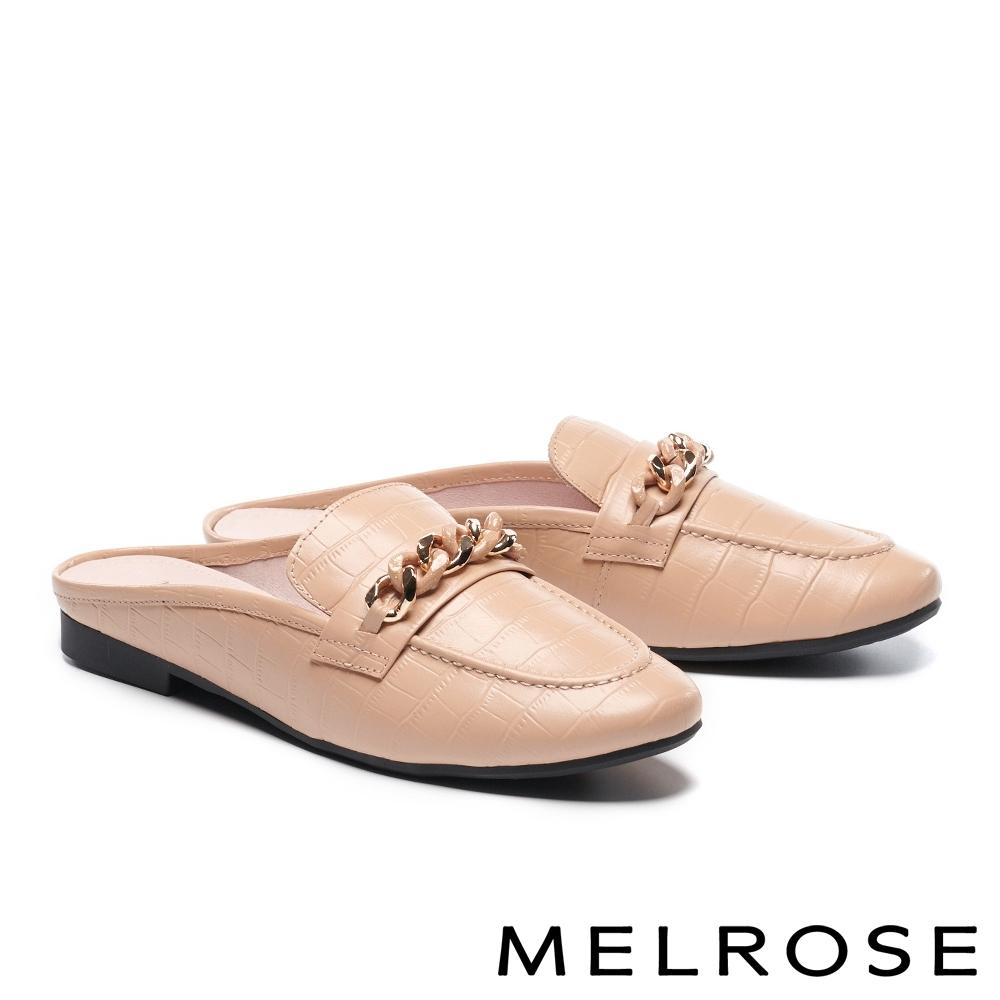 穆勒鞋 MELROSE 時尚質感雙色鍊條穆勒低跟拖鞋-米