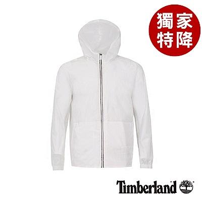 Timberland 男款白色輕薄可打包連帽外套|A1OKH