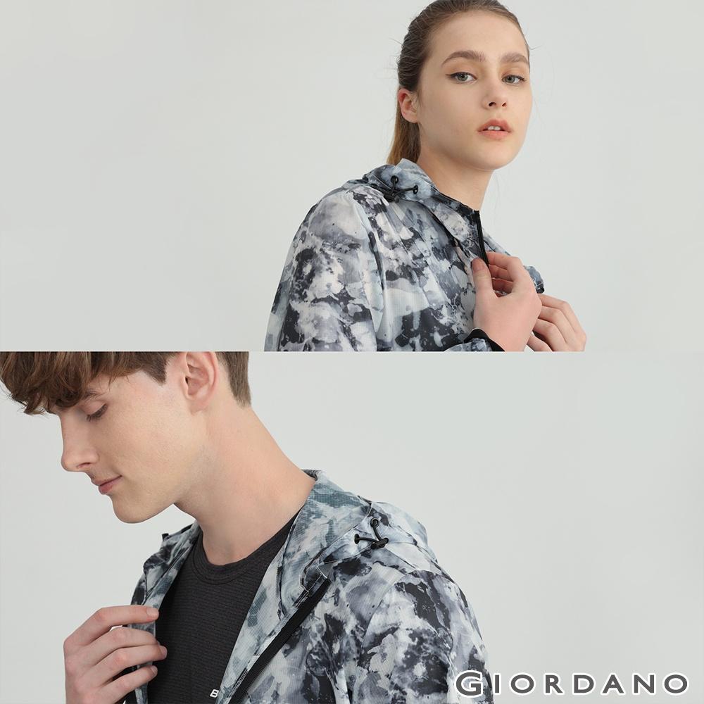 GIORDANO 男女裝抗UV輕薄暈染連帽外套 - 02 黑白暈染