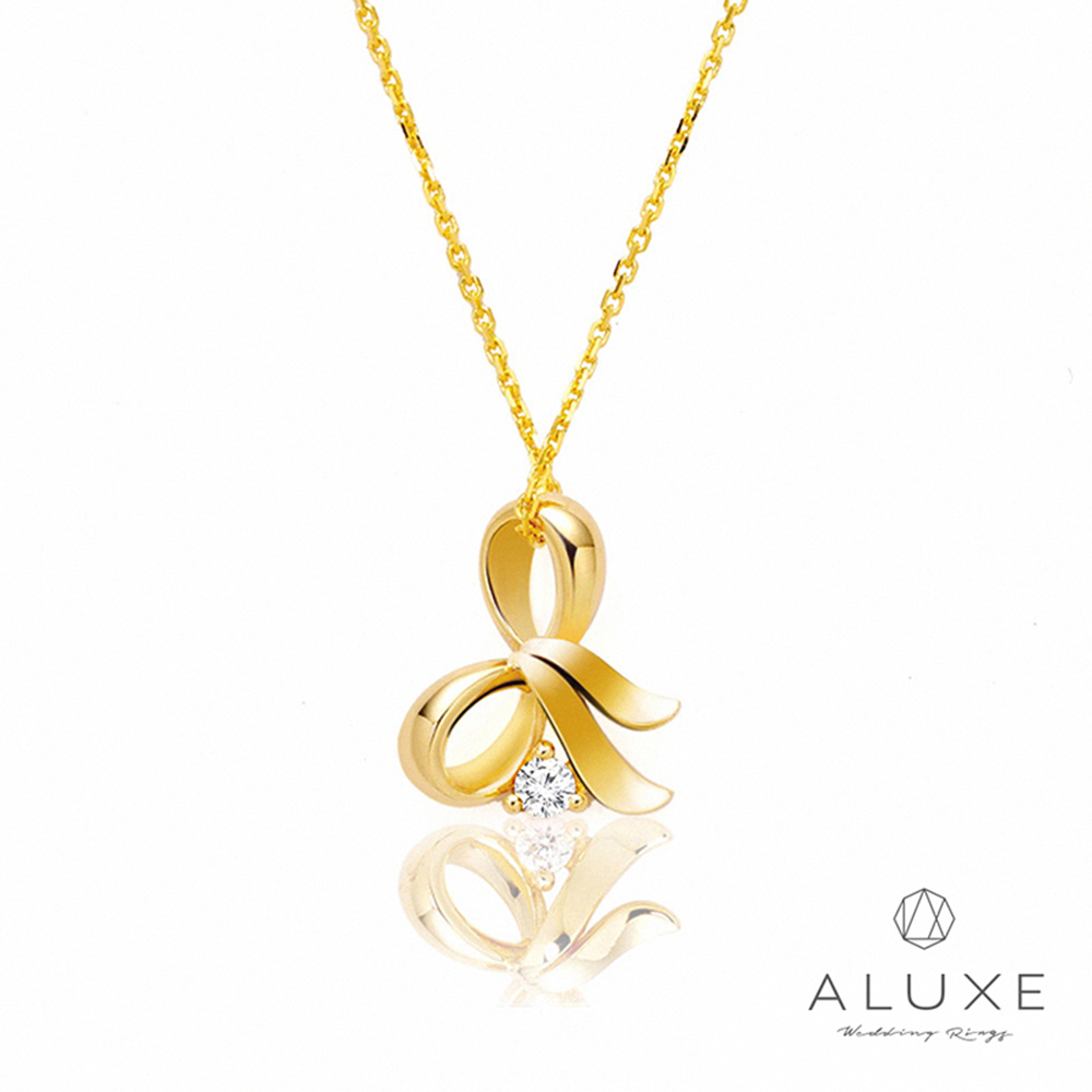 ALUXE亞立詩 Gifts系列 蝴蝶結 黃K金美鑽項鍊