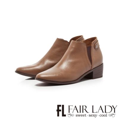 Fair Lady側鬆緊帶素面真皮粗跟短靴 棕