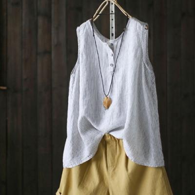 條紋吊帶背心寬鬆無袖內搭衫T恤上衣-設計所在