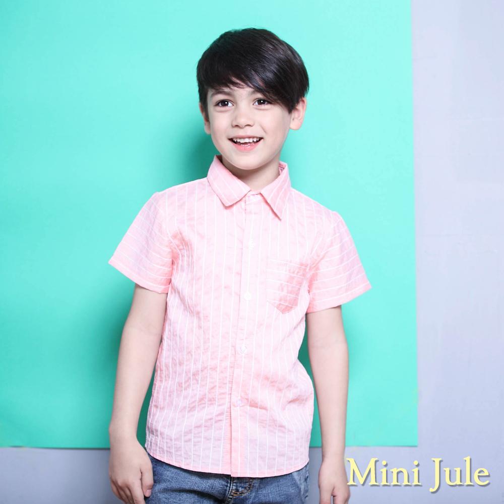Mini Jule 上衣 滿版直條紋單口袋短袖襯衫(粉)