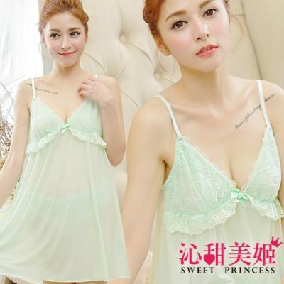 奢華冰絲睡衣裙組 夢幻蕾絲印花+捲捲滾邊 沁甜美姬(湖綠)