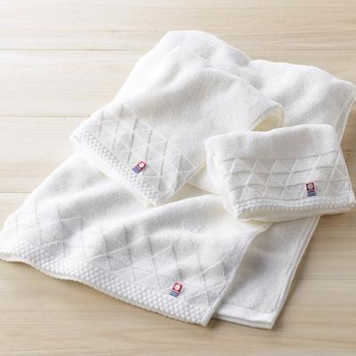 [獨家](四入組)日本丸真 今治漸層波浪純白毛巾