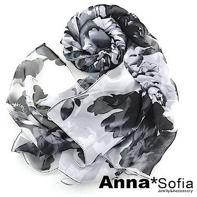 AnnaSofia 霓漫牡丹 雪紡圍巾長絲巾(黑白系)