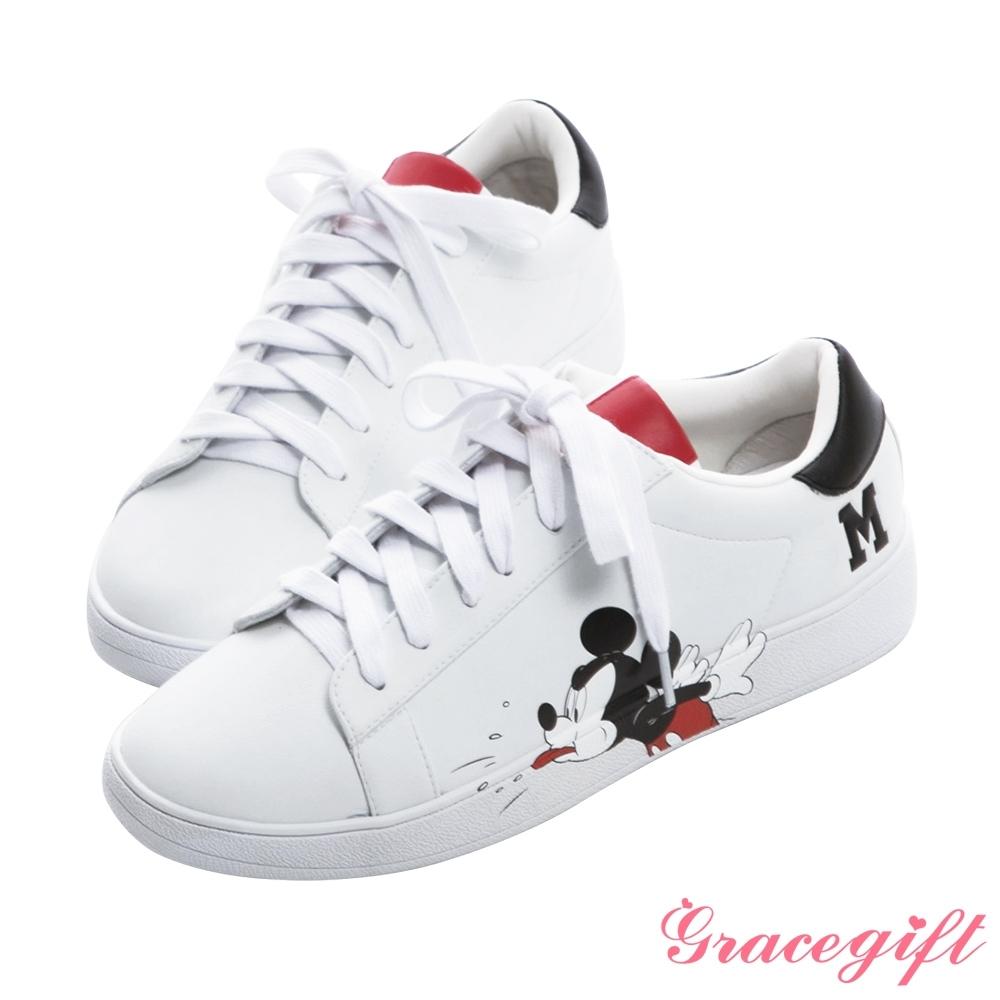 Disney collection by gracegift-迪士尼厭世米奇綁帶休閒鞋 黑