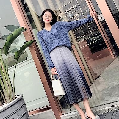 DABI 韓國風時尚V領針織衫半身紗裙長袖上衣 @ Y!購物