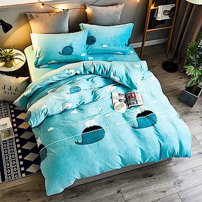 A-ONE法蘭絨 加厚兩用被毯雙人加大床包四件組 小藍鯨(獨家花色)