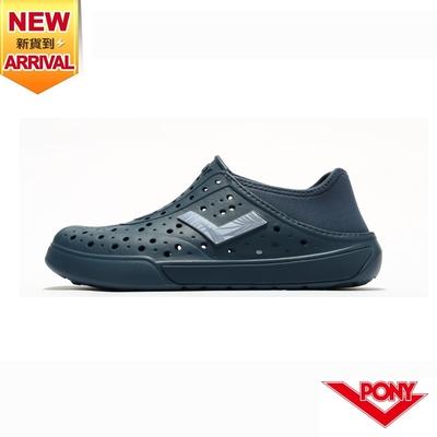 【PONY】ENJOY洞洞鞋 踩後跟 雨鞋 水鞋 中性款-基本色/灰藍
