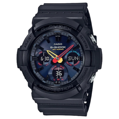 G-SHOCK 霓虹彩色未來東京太陽能運動錶(GAS-100BMC-1A)-黑x霓虹彩/52.5mm