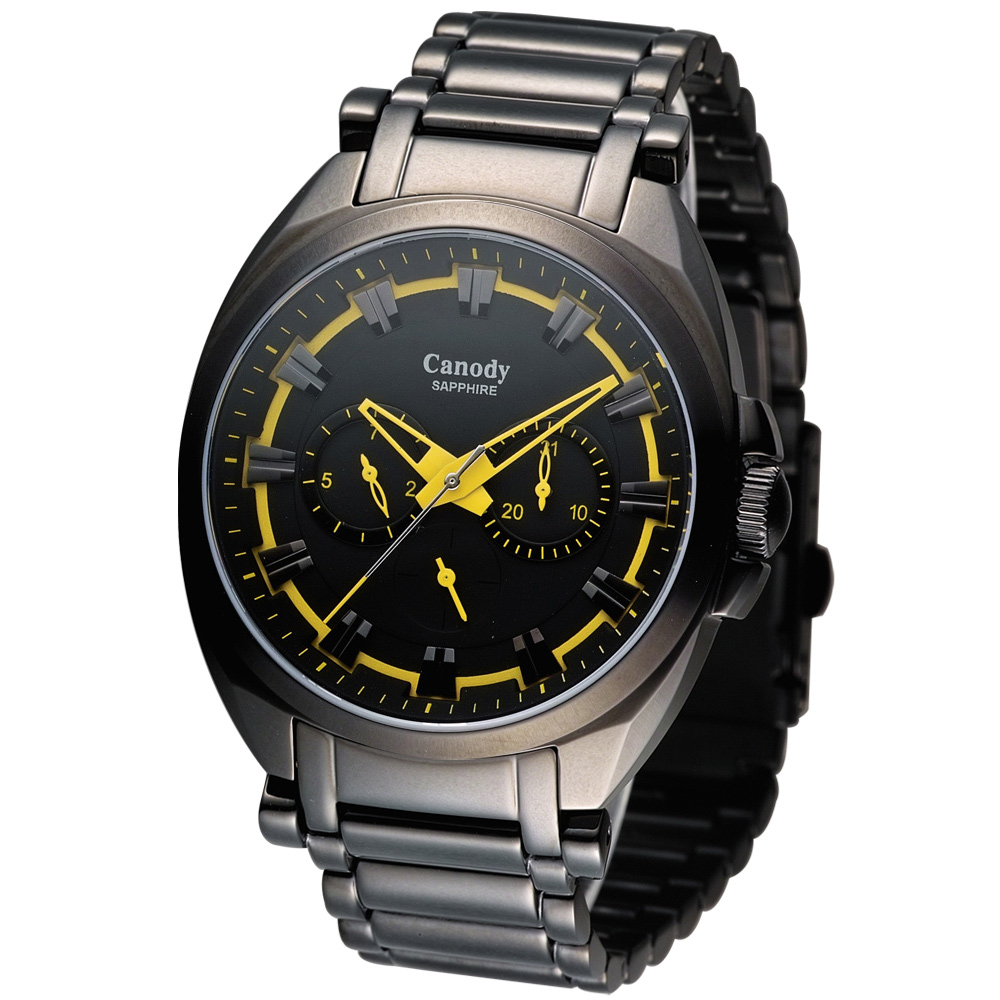 Canody 黑色旋風三眼日曆腕錶(CG5648-Y)-黃色/42mm