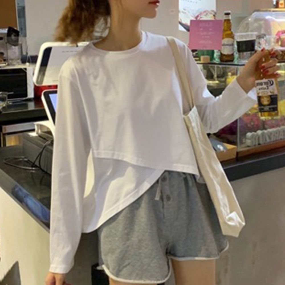 Lockers 木櫃 韓版長袖t恤寬鬆拼接百搭外衣/上衣-2色