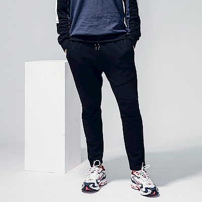 素色剪裁拉鍊造型運動棉感休閒長褲-OB嚴選