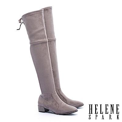 長靴 HELENE SPARK 俐落剪裁純色彈力麂布粗跟過膝長靴-米
